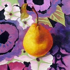 Golden Pear, Still Life Fruit Painting by Marina Petro, painting by artist Marina Petro