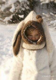 Sale KNITTING PATTERN bunny hooded cowl Rabbit by MukiCrafts