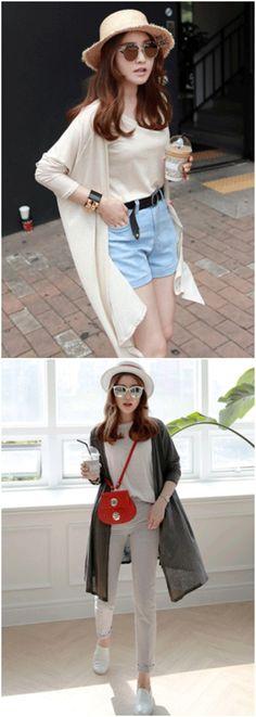 Basic Sleeveless Top And Long Open Front Cardigan (Set) #koreanfashion #chicstyle #ensemble