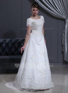 Vestidos princesa/ Formato A Decote redondo Sweep/Brush trem Organza de Cetim Vestido de noiva com Renda Bordado (002000311)