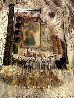 I am currently creating pages for a Round Robin Vintage Fabric Lacebook collaborative with 5 other women all within the U. Handmade Journals, Handmade Books, Vintage Journals, Handmade Crafts, Handmade Rugs, Journal Covers, Book Journal, Book Covers, Mixed Media Journal