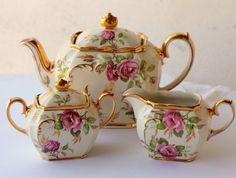 Wish I could buy a set like this...but for less. Wow. Sadler Vintage Pink Roses Teapot Tea Pot Set - Incl Milk Jug & Sugar - Shabby #Sadler