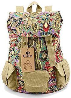 c3d5c1c49d0d Womens Backpack Vintage Canvas Rucksack Floral Printed (Flower)   Amazon.co.uk