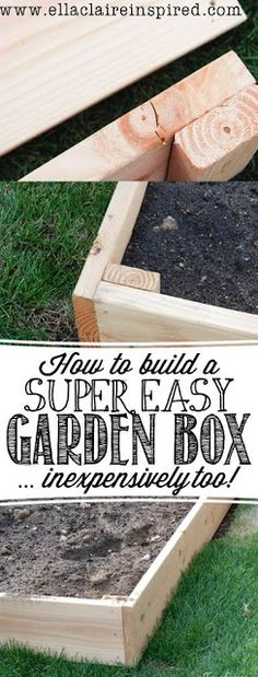 to Build the Easiest Garden Box Want a garden with cute garden boxes? Plant and grow plants with this easy DIY garden box tutorial.Want a garden with cute garden boxes? Plant and grow plants with this easy DIY garden box tutorial. Garden Planning, Garden Projects, Wood Projects, Outdoor Projects, Garden Inspiration, Style Inspiration, Organic Gardening, Gardening Tips, Fairy Gardening