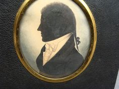Very Fine Antique Folk Art Silhouette Identified William Allies Ca 1800