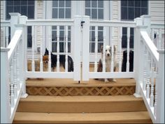"Door Darting Management Create ""airlocks"" for your doors. A small area with a self-closing gate, so if your dog darts out the door she's still contained. (This would be awesome to have a fence like this wrapped around our front concrete porch. Porch Gate, Deck Gate, Front Porch Railings, House 2, House With Porch, Story House, Small Front Porches, Decks And Porches, Screened Porches"