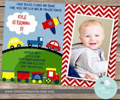 Transportation Invitation for Birthday Party Boy, AIRPLANE TRAIN Cars Baby Shower Option, Custom and Printable on Etsy, $15.00