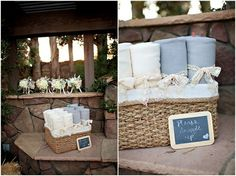 Cute touch - blankets for wedding guests displayed in a woven basket, tied with lace ribbon, and adorned with a cute chalkboard sign. from Bustled Blog Place at entrance before being seated