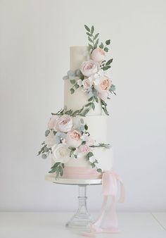 floral wedding cakes Cotton and Crumbs Luxury Wedding Cake, Floral Wedding Cakes, White Wedding Cakes, Elegant Wedding Cakes, Wedding Cakes With Flowers, Beautiful Wedding Cakes, Wedding Cake Designs, Beautiful Cakes, Rustic Wedding