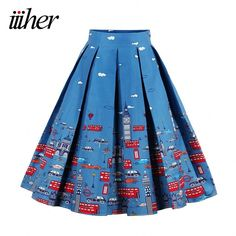 Special offer iiiher Summer Autumn Flared Skirt Pleated Midi Skirt Retro Car Print Ladies High Waist Elegant Vintage Skirts Femininas Saias just only $15.99 with free shipping worldwide  #womanskirts Plese click on picture to see our special price for you