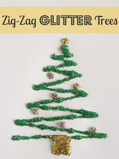 Z is for Zig-Zag Glitter Trees