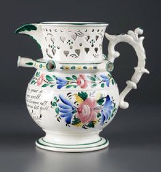 Early 19th century English Pearlware Puzzle Jug. Superb!