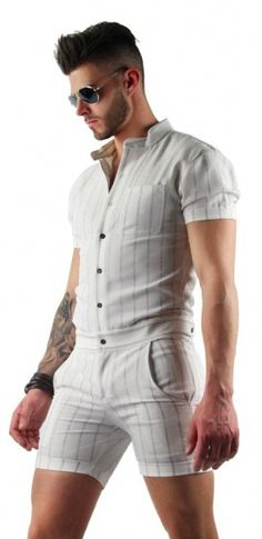 87e370bf9ea5 Mens White Romper with Vertical Stripes. Get ready to rock the male romper  trend in