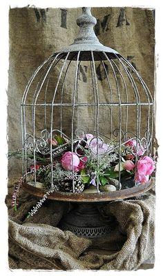✿♥♥✿ jolie cage gris et rose ✿♥♥✿