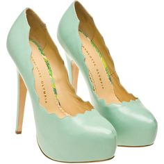 Charlotte Olympia Margo Leather Pumps with Platform ($910) ❤ liked on Polyvore featuring shoes, pumps, heels, sapatos, scarpe, shoes & boots, leather platform pumps, hidden platform pumps, mint pumps and slip-on shoes
