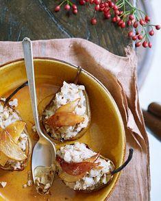Vega voorgerecht: gebakken peer met walnoten