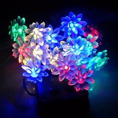 4.8M 20LEDs String Light Lotus Flower Outdoor Christmas Wedding Decoration Solar Led String(China