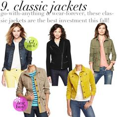 jillgg's good life (for less)   a style blog: Top 10 pieces of clothing you should buy this fall! {Part 9 - Classic Jackets!}