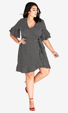 Shop Women's Plus Size White Stripe Chenelle Dress Collared Shirt Dress, Striped Shirt Dress, Midi Shirt Dress, Maxi Dress With Sleeves, Plus Size Skirts, Floral Print Maxi Dress, City Chic, Plus Size Women, Belts