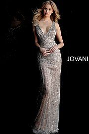 3ad1ba76beb1 jovani Silver Nude Embellished V Neck Open Back Prom Dress 67280 ...