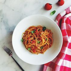 working lunch today--quick spaghetti al pomodoro. I used kamut pasta in this, and some fresh basil…