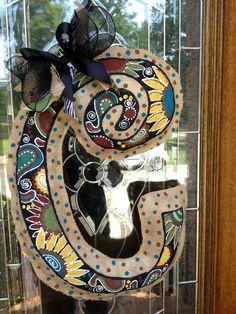 Initial burlap door hanger. I will make this one! So cute!