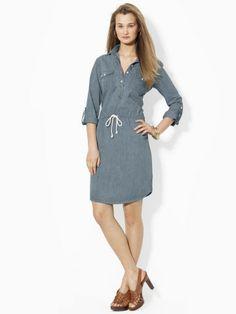 Drawcord Denim Dress - Lauren Jeans Co. Short Dresses - RalphLauren.com