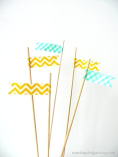 Cake Topper Flags Yellow and Mint Washi Tape Picks