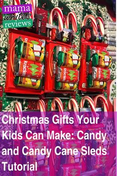 Christmas Gifts Your Kids Can Make Candy and Candy Cane Sleds Tutorial I always have a hard time coming up with teacher gift ideas I mean theyre so awesome and theyve cha. Christmas And New Year, Christmas Presents, Christmas Diy, Simple Christmas, Christmas Recipes, Holiday Crafts, Holiday Fun, New Year's Desserts, Cute Desserts