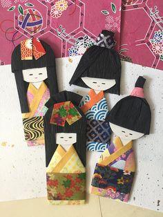 Japanese paper dolls, set of 4 / origami kimono doll, boy girl / Handmade gift for anniversary, birthday, everyday gift