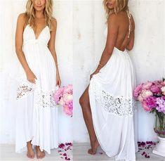 New Women Halter Boho Lace Long Maxi Evening Party Dress Beach Dresses Sundress Long White Maxi Dress, White Dress Summer, Maxi Dress With Sleeves, Short Beach Dresses, Summer Dresses, Dress Beach, Casual Dresses, Beach Sundresses, Summer Skirts