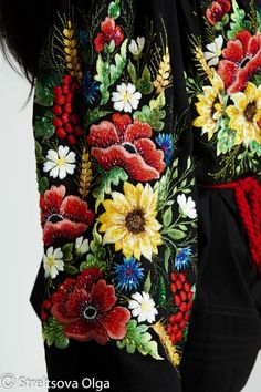 Hand embroidered black blouse Sunflowers by Handembroiderykvitka
