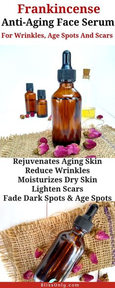 It's time to make your skin youthful and glowing with this DIY frankincense anti-aging face serum recipe. Frankincense oil is one of the most effective anti-aging essential oil. Its powerful antioxidants slow down skin aging, reduce wrinkles, fade dark sp Creme Anti Age, Anti Aging Cream, Anti Aging Skin Care, Natural Skin Care, Natural Beauty, Natural Face, Anti Aging Face Mask, Skin Care Routine For 20s, Skincare Routine