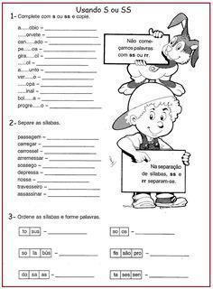 Atividades com S ou SS Portuguese Lessons, Memes, Professor, Dual Language, Google, Writing Activities, Sight Word Activities, Interactive Activities, Spelling Word Practice