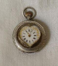 stunning edwardian ladies silver heart shape pocket watch