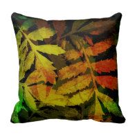 Bright Modern Leaves Abstract Pattern Throw Pillows