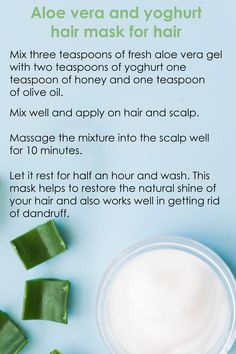 Aloe vera helps to keep the scalp hydrated and fastens hair regeneration. If you have dandruff, thin hair, hair fall or your hair lack that much-needed shine, give these easy DIY aloe vera hair masks a try to say hello to those luscious locks! Hair Mask For Dandruff, Diy Hair Mask, Dandruff Remedy, Hair Remedies, Aloe Vera Haar Maske, Yogurt Hair Mask, Aloe Vera For Hair, Aloe Hair, Hydrating Hair Mask