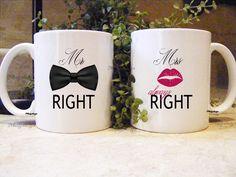 Personalized Mug Bride Gift  - Mr Right and Mrs Always Right Mugs - Coffee Mug - Wedding Mug - Couples Mugs - Mugsleys - Groom Mug von Mugsleys auf Etsy https://www.etsy.com/de/listing/207743684/personalized-mug-bride-gift-mr-right-and