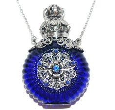 Czech Jewelled Decorative Blue Perfume Oil Bottle Holder Necklace/pendant