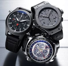 IWC Top Gun with titanium and ceramic caseback, $10,400; Hublot Big Bang Tantalum. Mat with case and bezel made from microblasted tantalum with colorless PVD coating, $16,900; Carl F. Bucherer GMT TravelTec 4x with palladium case, ceramic bezel, titanium monopusher, and rubber insets in the crown and push buttons, $48,000