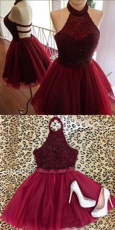halter homecoming dresses, burgundy homecoming dresses, beaded bodice short prom dresses