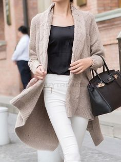 Appealing Bat Sleeve Knitted Asymmetric Hem Loose Coat Women Leisure Cardigan Sweater on buytrends.com