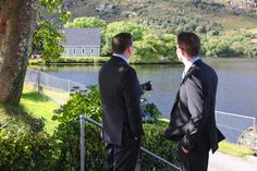 The men are ready to walk over to the oratory - Gougane Barra, West Cork, Ireland #wedding