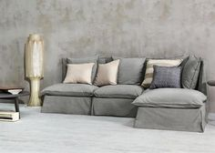 Ghost Sectional Collection is a series of three elements, with upholstery in polyurethane foams, and cushions in dacron and down. Featuring a solid wood frame, Ghost upholstery is intentionally abundant, and covers are removable for cleaning.