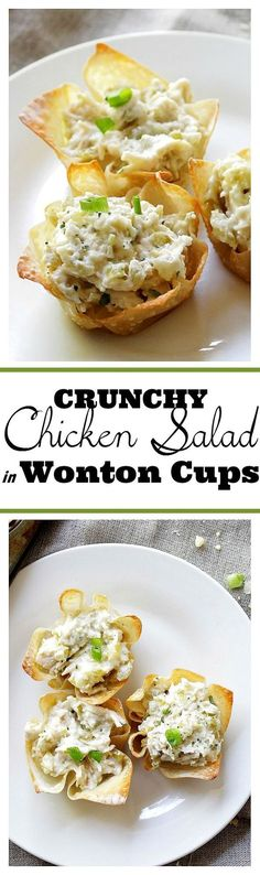 Chunky Chicken Salad Cups: A refreshing chicken salad mixed with pickles, mushrooms and sour cream.