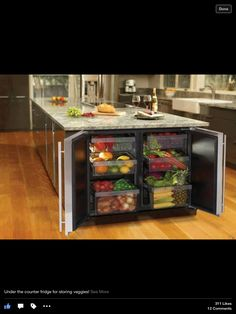 Under the island refrigerator for fruits and veggies!!