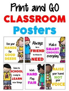 Free! Amazing classroom posters. Print these fun and colorful posters to hang in your classroom! All these need is a simple frame and they're ready to go!   Like this product? Leave me a comment below!  Clip Art from Melonheadz Kidlettes   Fonts: COCOGOOSE, Cutie Patootie