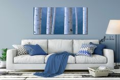 Gray blue tree art, White birch painting, Large oversized canvas print for minimalist master bedroom wall art or office artwork #MinimalistArt #TreeArtCanvas #GrayWhiteBlue #ArtworkTrees #WhiteBirchPainting #MasterBedroom #LargeCanvasPrint #BedroomWallArt #OversizedOfficeArt #GrayBlueTreeArt Three Piece Wall Art, Large Wall Art, Canvas Wall Art, Blue Canvas, Small Art, Painting Canvas, Art Mural, Wall Murals, Art Pour Salon