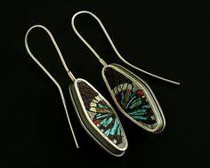 Polymer clay micromosaic butterfly earrings by Cynthia Toops; metalwork by Chuck Domitrovich.