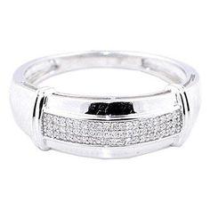 Diamond Wedding Band Mens 10K White Gold 0.13cttw 3.1gm 9mm Wide Ring